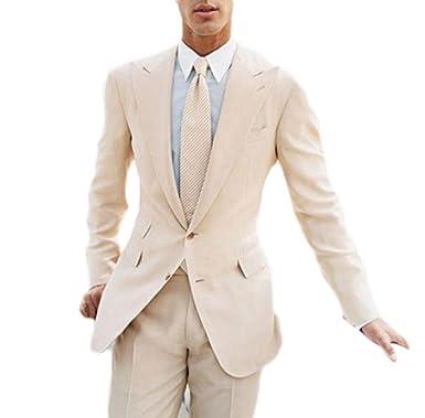 6cb0bbbb89c8 Botong Beige Summer Beach Wedding Suit 2 Pieces Groomsmen Suit Men Suit at  Amazon Men s Clothing store