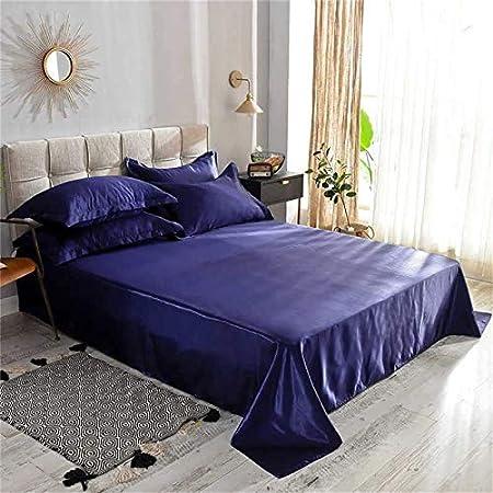 Serrage draps Brillance Satin Polysatin Polyester Bleu Foncé Taille 100 cm x 200 cm