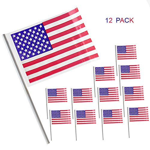 American USA Patriotic Flags 12 Pack July 4th Party favor Supply Decoration And Props, Mini Hand Held Plastic US 4x6 Inches Flag With 8 Inch Stick