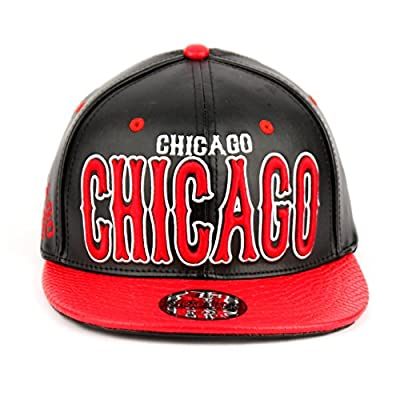 Chicago Faux Leather Flat Bill Snap Back Hat
