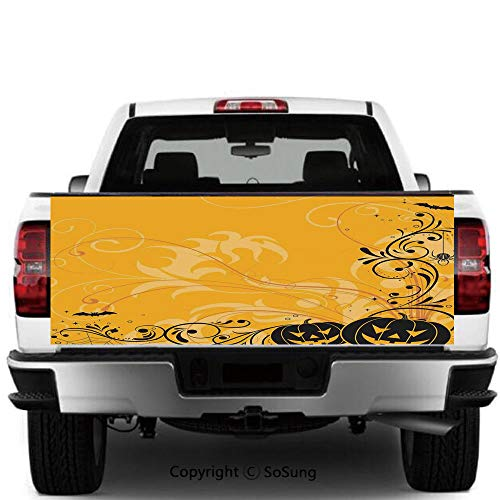 SoSung Halloween Decorations Vinyl Wall Stickers,Carved Pumpkins with Floral Patterns Bats and Webs Horror Artwork Cars Trucks Decorative Decal Sticker,65x25 Inches,Orange Black