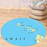VROSELV Custom carpetHawaiian Decorations Collection Map Of Hawaii Islands With Capital Honolulu Borders Important Cities And Volcanoes Bedroom Living Room Dorm Round 72 inches