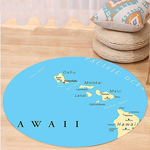 VROSELV Custom carpetHawaiian Decorations Collection Map Of Hawaii Islands With Capital Honolulu Borders Important Cities And Volcanoes Bedroom Living Room Dorm Round 72 inches by VROSELV