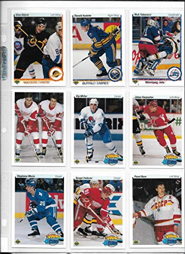 - 1990-91 Upper Deck Hockey Complete Lo & High Number Set In Sheets & Album