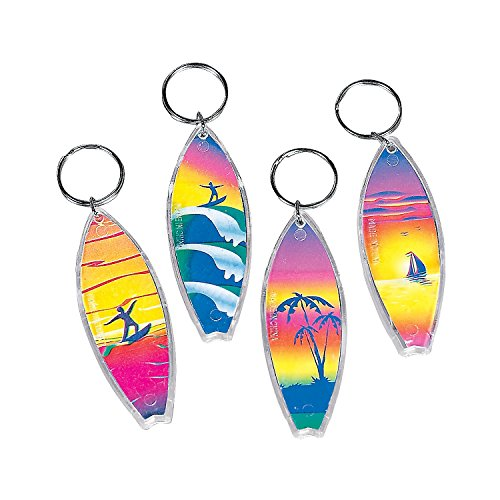 Fun Express - Assorted Surf Board Key Chains (1-Pack of 12) ()