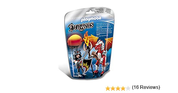 PLAYMOBIL Dragones - Dragón Fuego con Guerrero, Juguete Educativo, Multicolor, 17 x 8 x 24 cm, (5463)