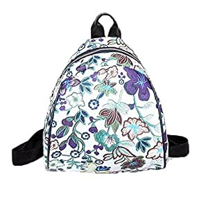 Wultia - Famous Brand Wonmen Vintage Embroidery Ethnic Canvas Backpack Women Flower Travel Bags Schoolbag Luxury Zaino da Donna 6.65#M07 Purple