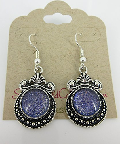 136 Glasses (Antiqued Silver-tone Purple Gold Black Shimmer Glass Dangle Earrings Hand-painted)