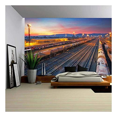 wall26 - Cargo Freigt Train Railroad Station at Dusk - Removable Wall Mural   Self-Adhesive Large Wallpaper - 66x96 ()