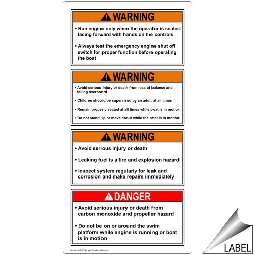 ComplianceSigns Vinyl ANSI WARNING Label, 4 x 2 in. with Boating / Marine / Fishing Info in English, 4-pack White (Standard Swim Platform)