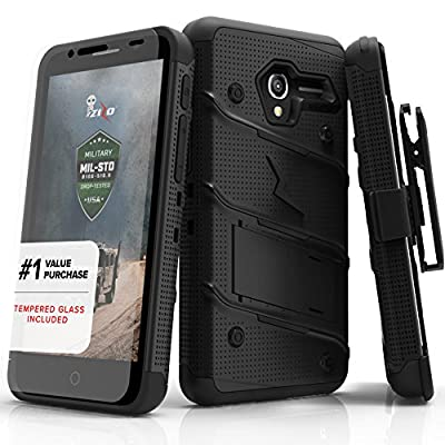 Alcatel TRU Case, Zizo [Bolt Series] w/ FREE [Alcatel TRU Screen Protector] Kickstand [Military Grade Drop Tested] Holster Clip- Alcatel TRU / Stellar