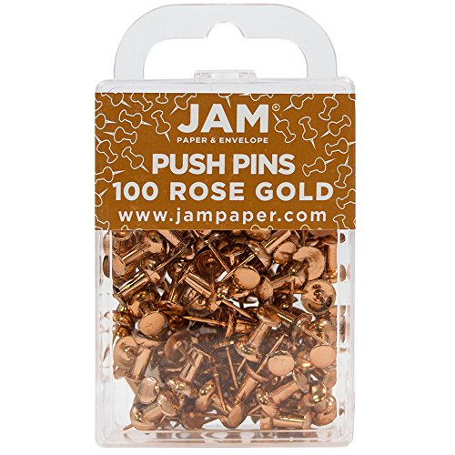 JAM Paper Push Pins - Rose Gold PushPins - 100/Pack