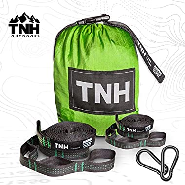 Ultimate Singlenest Camping Hammock & Bonus Straps By TNH Outdoors - Premium Quality Package - 9ft Tree Straps With 30 Hitch Points