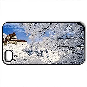 castle of Vianden - Case Cover for iPhone 4 and 4s (Medieval Series, Watercolor style, Black)