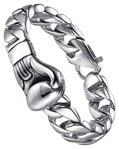 - Aoiy Men's Stainless Steel Boxing Glove Curb Chain Biker Bracelet, ccb086wu