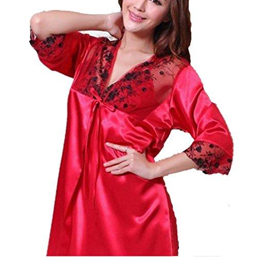albornoces de seda del verano del camisón de seda camisón pieza atractivo de la casa y juego de las mujeres , l