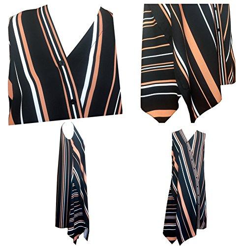Vestito Cg Lungo Abito Fatto 864c198 Maniche Button L'estate Banda Verticale Del Camicia Multicolore Risvolto Donne UC8wqaZBxx