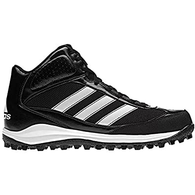 14fcf6e4f122 adidas Performance Men's Turf Hog LX Mid Football Cleat, Black/White/Silver,
