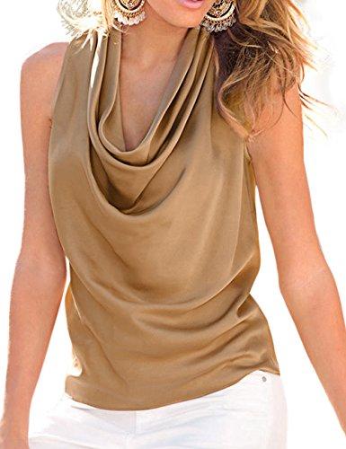 MACCHIASHINE Women's Cowl Neck Sexy Draped Sleeveless T Shirt Tank Top Vest(KH-L)