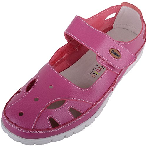 (ABSOLUTE FOOTWEAR Womens Leather Causual/Summer/Holiday EEE Wide Fitting Shoes/Sandals - Raspberry - US 7)
