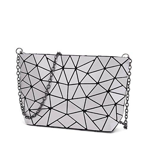 Paquete De Bolso De Hombro Irregular Geométrico De Diamante De La Mujer,Black Silver
