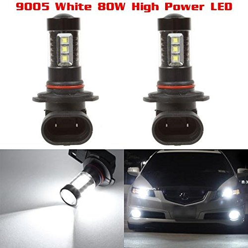 Lamps Fog Projector - Partsam 2pcs 9005 HB3 White 80W 6000K Epistar High Power LED Fog Driving Light Lamp Projector