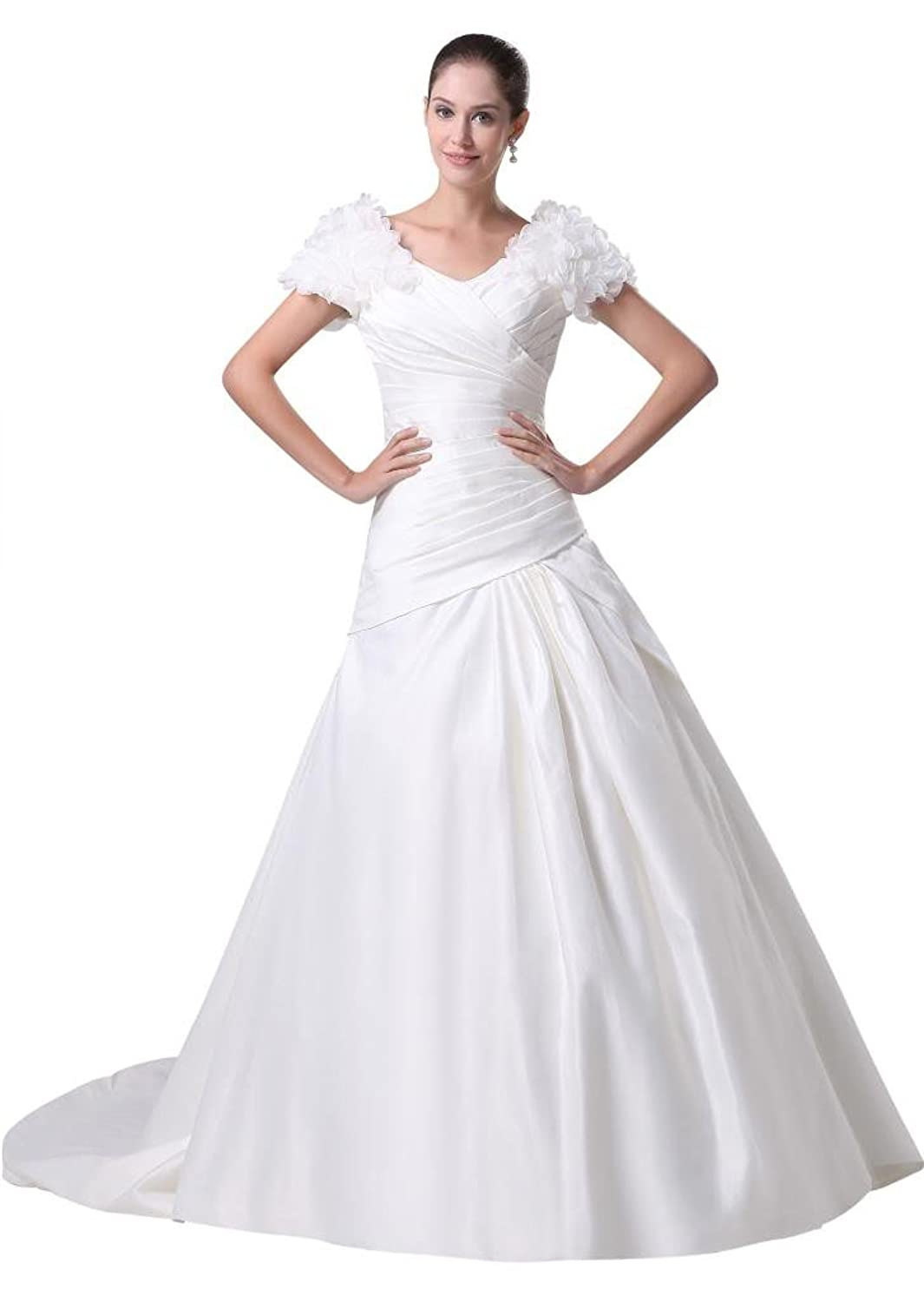 GEORGE BRIDE Formal Short Sleeves Satin Outdoor Wedding Dress