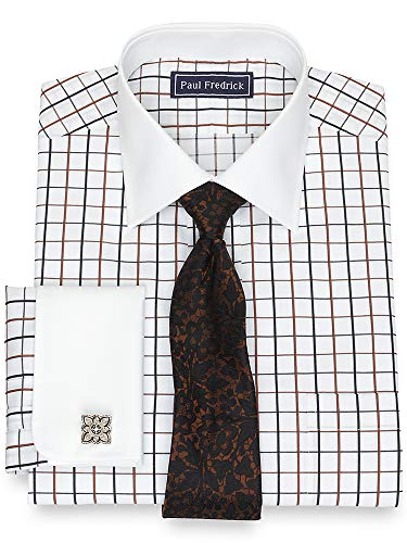 Paul Fredrick Men's Cotton Satin Grid French Cuff Dress Shirt Black/Brown 16.5/34