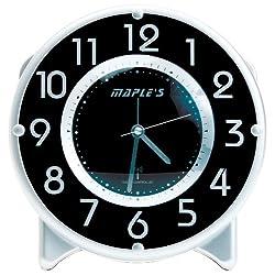 Maple's Streamline Table Alarm Clock, Atomic Time Sync, Black Face