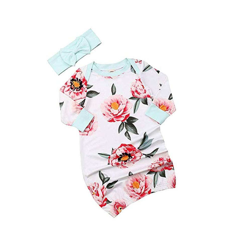 Newborn Infant Baby Girls Sleeping Gown Swaddle Pajamas Coming Home Outfits Pink