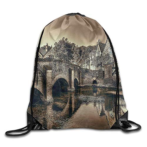 (AoshangGardeflag Castle Combe Bridge River Christmas Unisex Gym Drawstring Shoulder Bag Backpack String Bags -)