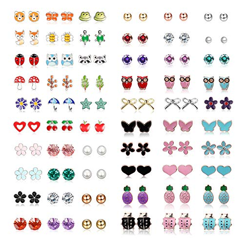 Yadoca Stainless Steel 60 Pairs Stud Earrings for Girls Women Mixed Color Cute Animals CZ Jewelry Earring Set Heart Star Fox Bee Frog Ladybug Daisy Flower Tree Mushroom Umbrella Rose Gold White