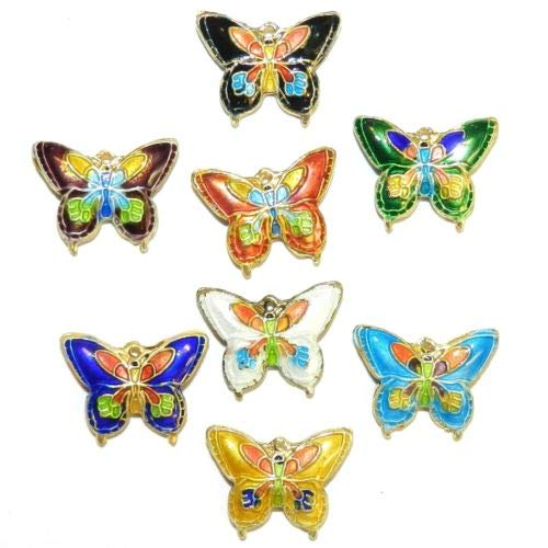 CL169 Handmade Cloisonne Mixed Color 20mm Butterfly Gold Metal Beads 10pc Crafting Key Chain Bracelet Necklace Jewelry Accessories ()