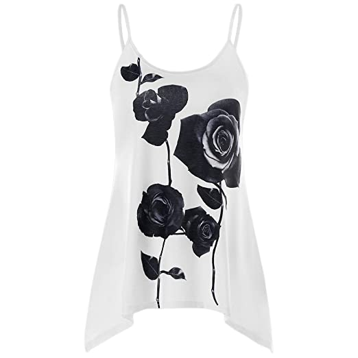 a0bd6ce8d18 HIKO23 Women s Casual Plus Size Floral Print Spaghetti Strap Backless Cami  Tank Top Loose Asymmestric Flowy T-Shirt at Amazon Women s Clothing store