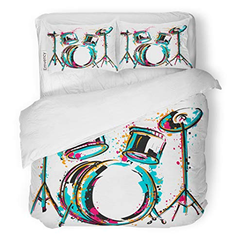 Semtomn Decor Duvet Cover Set Twin Size Reggae Drum Kit Splashes in Watercolor Colorful Sketch Music 3 Piece Brushed Microfiber Fabric Print Bedding Set Cover -