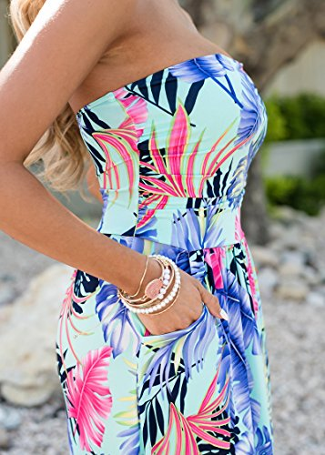 Abito Chic Vestiti Lungo Blu Vintage Estivi Senza Spiaggia Senza Maniche Vestito hmische Ragazza Lunghi Mare Da Eleganti Floreali Giorno Bandeau Abbigliamento Spalline Donna B Moda rHfWwqrP