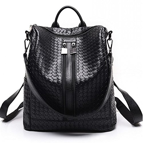 Fashion PU Leather Backpack Shoulder Bag White Travel Bag M014-weave Pattern
