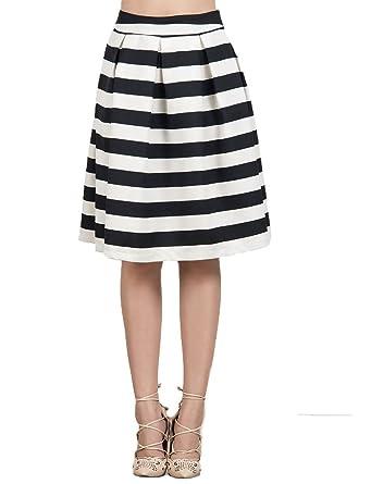 4bdc3215c CHARLES RICHARDS CR Women's Black And White Stripes High Waist A-line Midi  Skirt