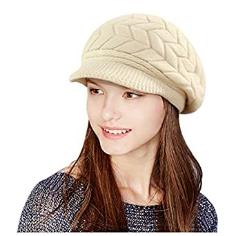 Glamorstar Winter Knit Hat Stretch Warm Beanie Ski Cap with Visor for Women Girl Beige