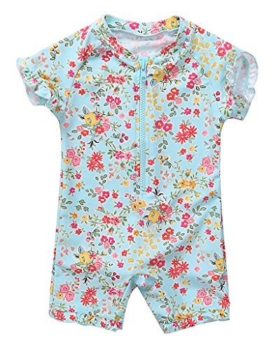 BeautyIn Baby Girls Cute Floral Rash Guard UPF50+ Long Sleeve Pants One Piece Swimming Costume Swimwear, 3 Mos, Color #2(fulfilled by Amazon)