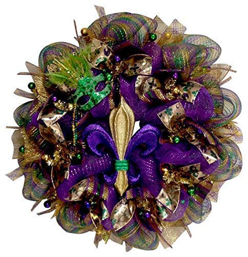 Mardi Gras Wreath Fleur De Lis Purple Green and Gold Mardi Gras Handmade Deco Mesh -