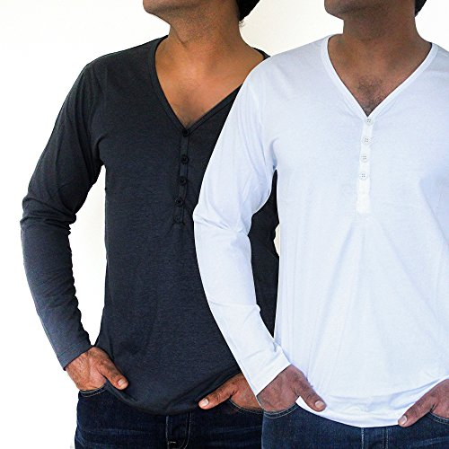 Men's Economy Pack of Two Deep Neck Full Sleeve Shirts (Grey and White) by QZS Clothing
