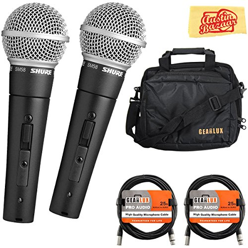 (Shure SM58S On/Off Switch Vocal Microphone Bundle with Two Mics, Gearlux Mic Bag, XLR Cables, and Austin Bazaar Polishing Cloth)