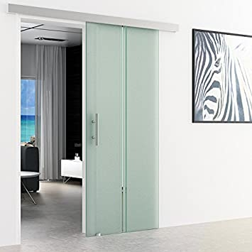 Puerta corredera de rayas de vidrio - Vertical | Dimensiones: 900 x 2050 mm | Alu-standard-