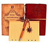 Classic Leather Writing Journal (Naval Compass Embossing) - Vintage Leather Cover & Refillable Design - Includes Extra Lined Paper & Bamboo Pen (Included)