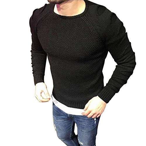 (iLXHD Autumn Men's Stripe Long Sleeve T-Shirt Top Blouse Sweatshirt Outwear(X-Black,XL))