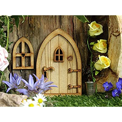 Country Cottage Fairy Door. 3D (Three-Dimensional) Self-Assembly Wooden Fairy Door Craft Kit. Comes with Fairy Window and Door Handle!: Home & Kitchen