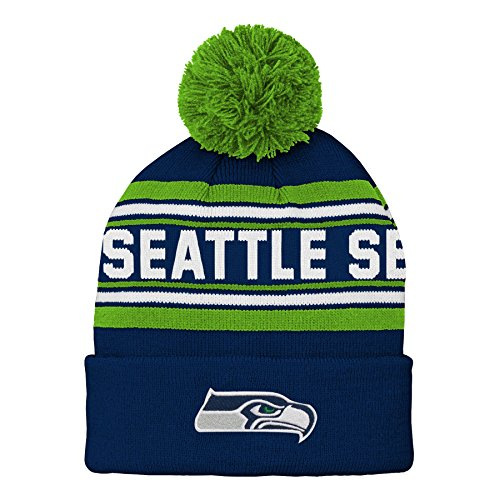 Child Hat Sizes - NFL Seattle Seahawks Kids & Youth Boys Jacquard Cuffed Knit Hat with Pom Dark Navy, Kids One Size