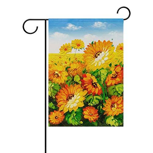 OREZI 12 x 18 Inch Garden Flag, Seasonal Garden Banner Double Sided Printed Oil Painting Art Sunflower Field Flag,Decorative for Home Outdoor Yard Garden
