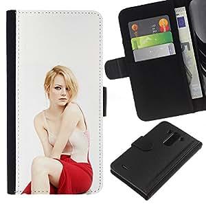 LECELL--Cuero de la tarjeta la carpeta del tirón Smartphone Slots Protección Holder For LG G3 -- Donna Bionda Attrice --